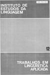 Visualizar v. 12 (1988): Anais do 1º Congresso Brasileiro de Lingüística Aplicada - Vol. I